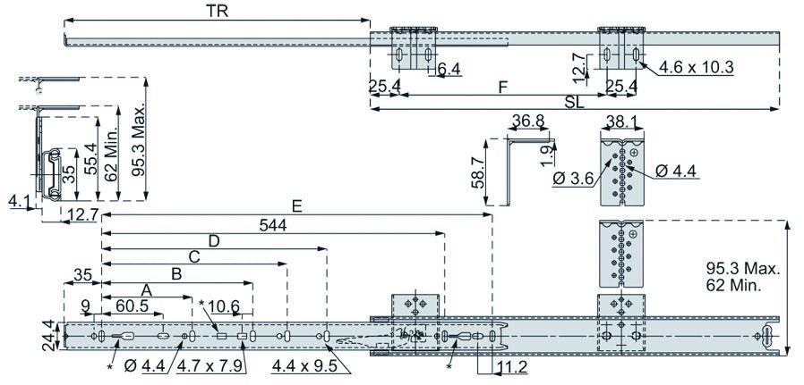 Coulisses DZ 2109 pour clavier