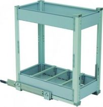 Bouteilles + 1 niveau de rangement - cadre aluminium anodisé - panier gris