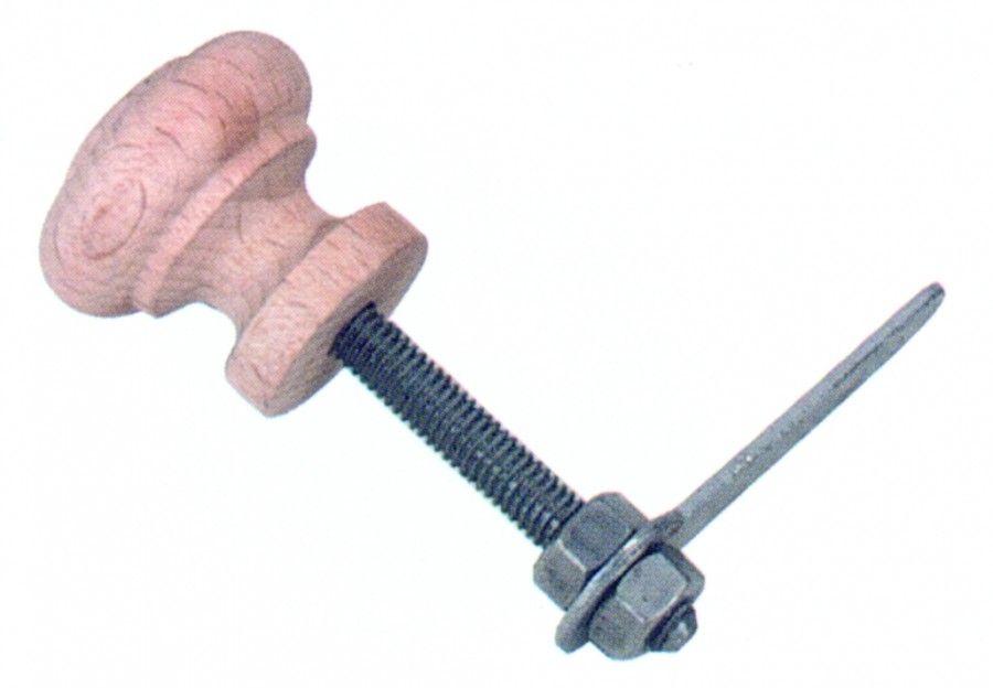 Bouton classique convexe - hêtre brut à clavette