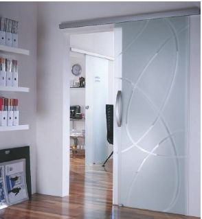 Coulissant pour porte int rieure en verre dorma agile 50 - Rail coulissant pour porte en verre ...