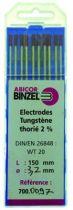 Electrode acier/ inox - tungstène thorié 2 % (bout rouge)