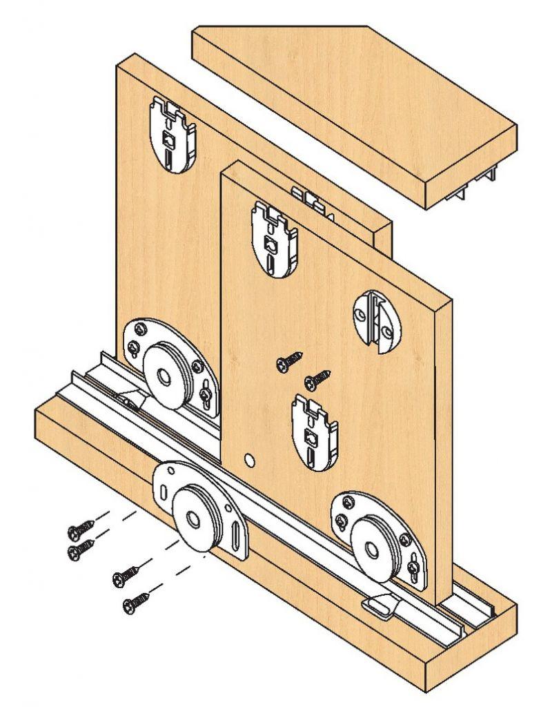 Ferrure de portes coulissantes bois s ries 320 25 40 55 kg for Rail porte coulissante meuble