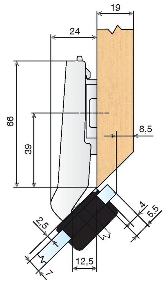 Ouverture 94° - angle + 45 °