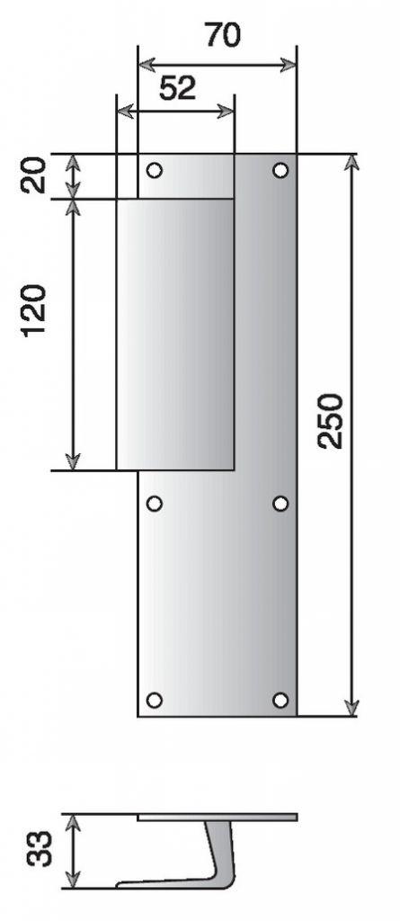 Poign es sur plaques pour portes pali res dimensions 25 x 7 mm - Dimension bloc porte standard ...
