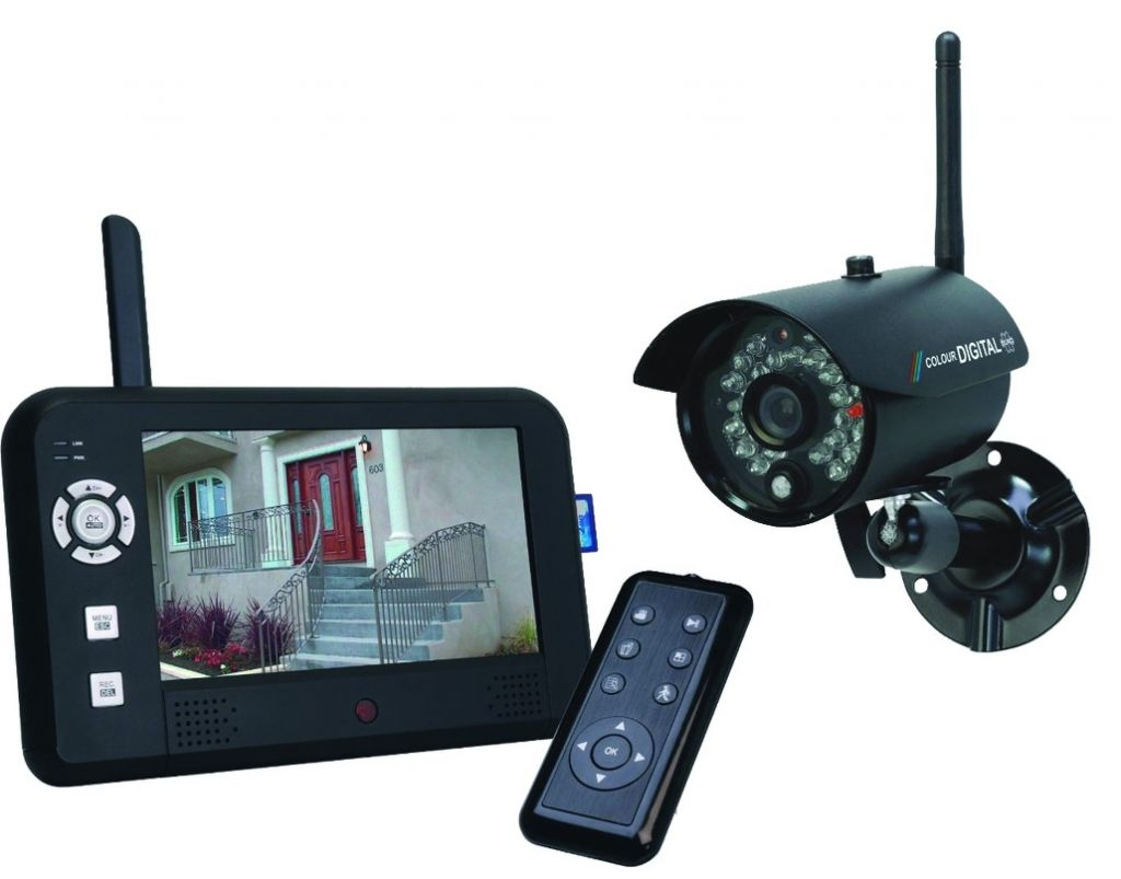 vid o surveillance kit cam ra num rique sans fil cran 7. Black Bedroom Furniture Sets. Home Design Ideas