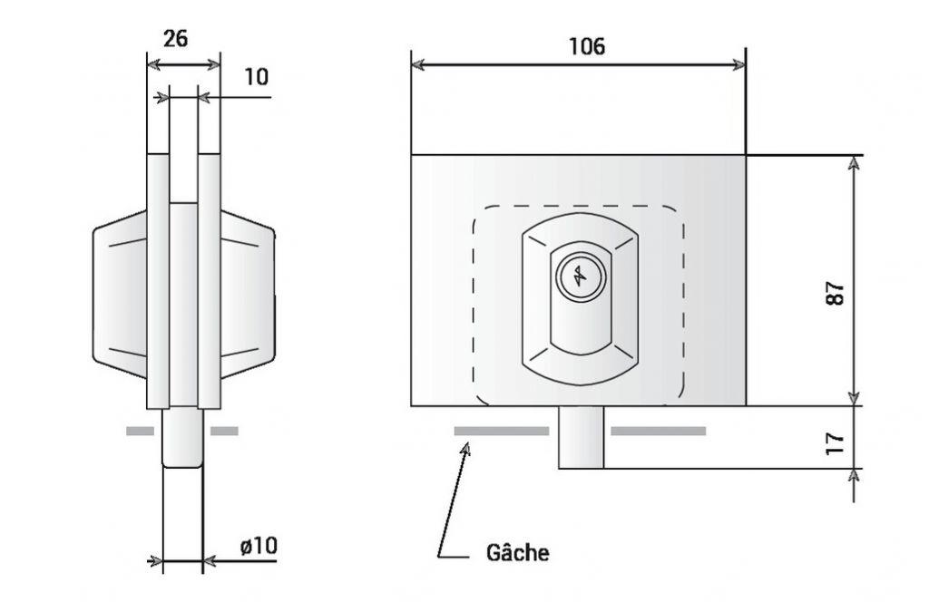Serrure de bas de porte pour encoche 61 pour glace de 10 mm d'épaisseur