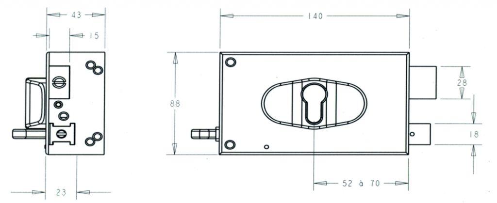 Série Métalux réglable ND 10 horizontale à tirage