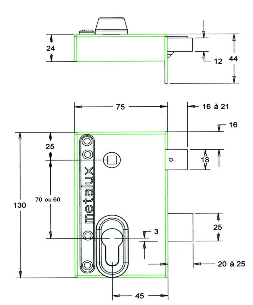 Série Métalux réglable ND 10 verticale à fouillot ND 10 - Carré de 7 mm