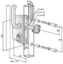 Serrure pour coulissant sur profil carré ou rectangulaire - LSKZ