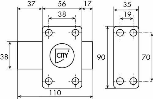 Verrou de sûreté Iséo a bouton - cylindre 6 goupilles ø 26 - série City ISR6