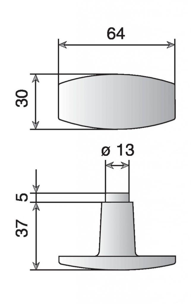 Bouton double alu poli
