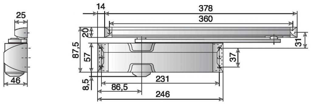 Ferme - porte TS 90 Impulse - Corps et bras à coulisse
