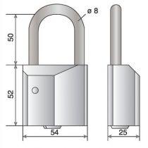 Cadenas à clés laiton massif nickelé - série Gera - Anse inox - ø 8 mm - passage 50 mm