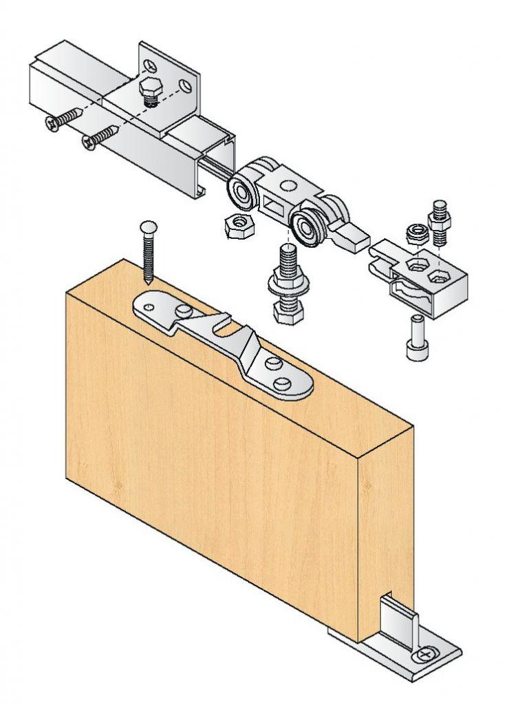 Ferrure de porte coulissante bois kit complet série 400