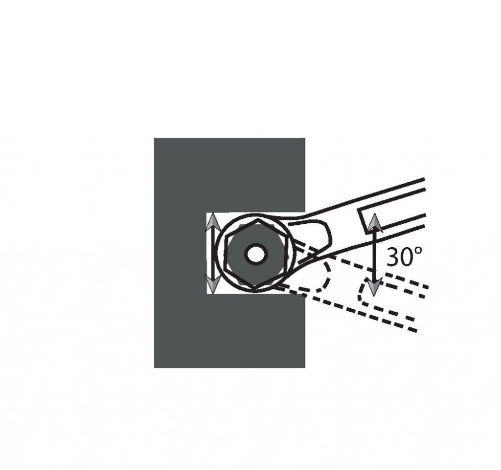 Clé polygonale Facom contre-coudée - oeil 12 pans série 55 A