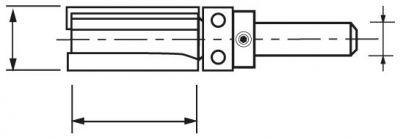 Mèche d'affleureuse droite carbure 2 coupes avec guide à billes supérieur