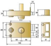 Sûreté à cylindre rond JPM Véga horizontale à fouillot - Carré de 6 mm