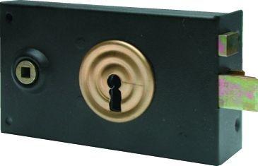 Horizontale pêne dormant 1/2 tour de grille façon gorge - 2 clés - Carré de 6 mm - L x H x E : 140 x 82 x 23 mm