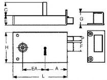 Horizontale pêne dormant 1/2 tour de grille 4 gorges - 2 clés - Carré de 6 mm