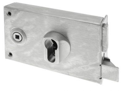 Serrure de grille cylindre européen pêne 1/2 tour à équerre - horizontale à fouillot - Carré de 6 mm