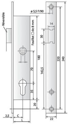 À larder têtière inox Métalux 1 point - 9 bec de cane avec rappel du 1/2 tour par la clé