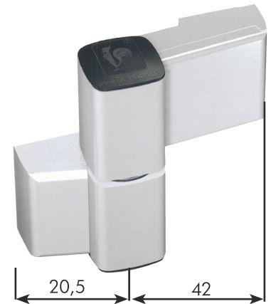 Paumelle série 60 AT pour porte aluminium jusqu'à 140 kg - Axe 20 mm