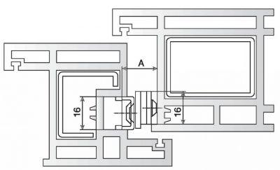 Loqueteau compas de soufflet pour menuiserie PVC