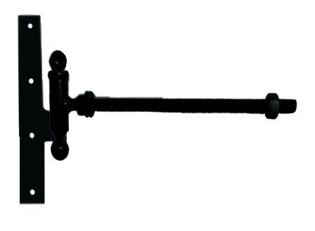 Paumelle forgée à boule broche et bague equerre du milieu à tige filetée acier cataphorèse noir