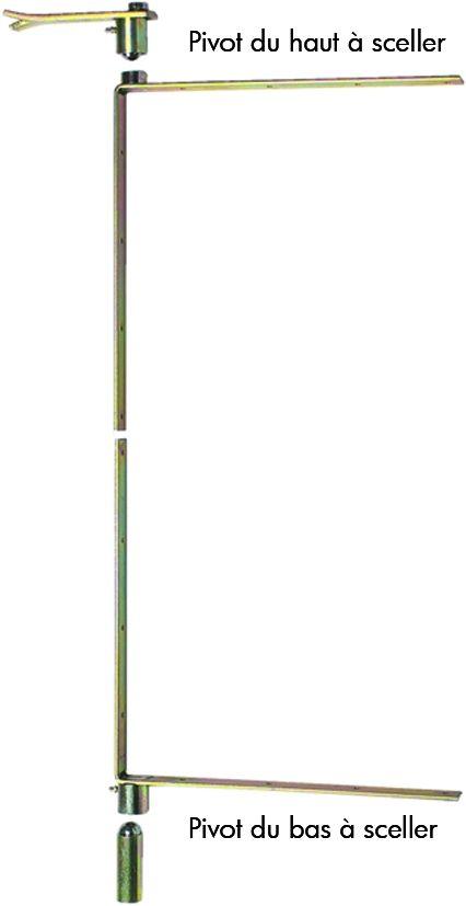 Pivot à équerre sur chant 40 cm