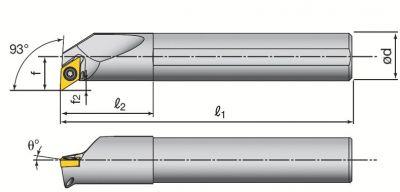 Barre d'alésage A-SDUC avec arrosage et plaquettes DCMT