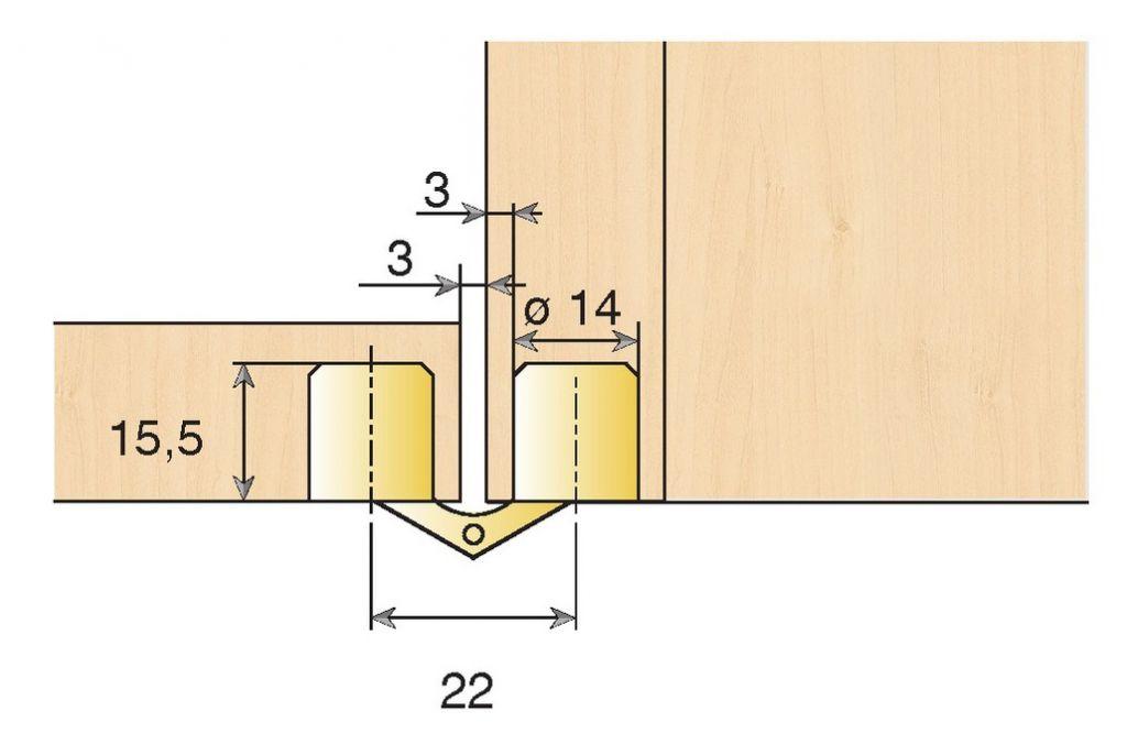 Charnière invisible à entailler 180° corps cylindrique - laiton