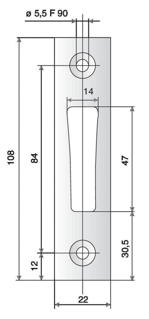 Gâche de serrure Métalux plate pour pêne dormant 1/2 tour
