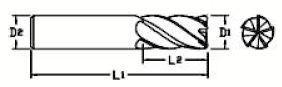 Fraise queue cylindrique denture 35/38° Altima (ALTIN) - 5 dents carbure micro-grain