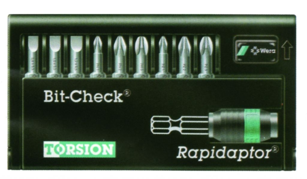 """Sélecteur d'embouts Bit Checks® Wera embouts de vissage + porte-embout Rapidaptor 1/4"""""""