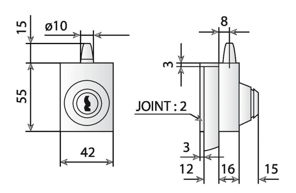 Loqueteau cavalier sans encoche - A tirette et à clé - pour glace de 8 à 10 mm d'épaisseur