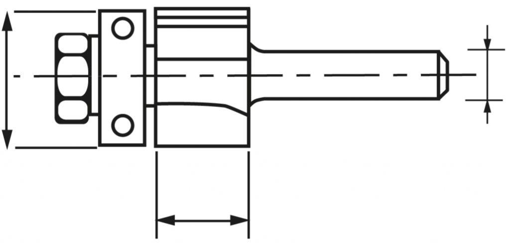 Mèche 2 coupes avec guide à billes - pour affleureuse droite