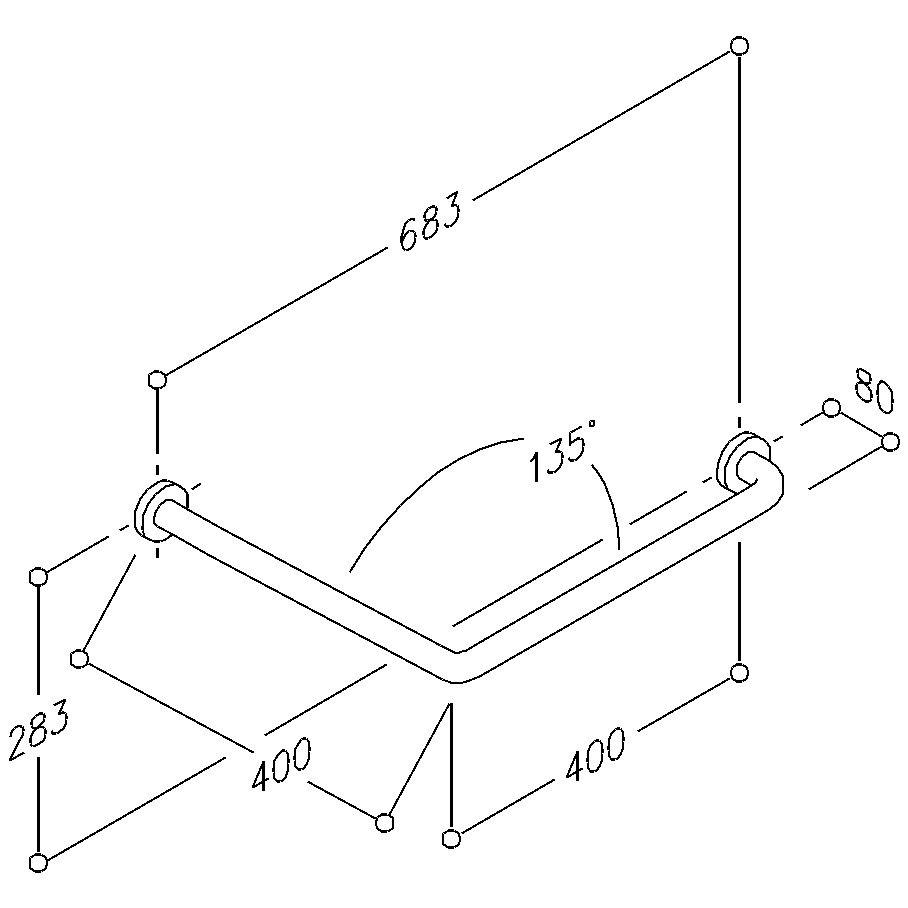 Poignée de maintien 135° - 2 points de fixation