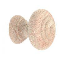 Bouton classique convexe - hêtre brut poncé