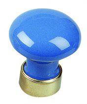 Bouton classique bombé - porcelaine de couleurs - monture laiton ø 30 mm