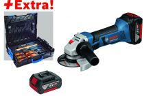 GWS 18-125 V-LI - 5,0 Ah  + 2 batteries et coffret outils Gedore