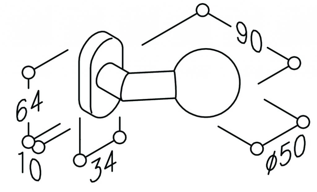 Bouton fixe sur rosace ovale série EST inox