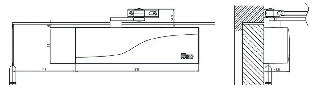 Ferme - porte HLT 100 temporisé - Corps et bras standards