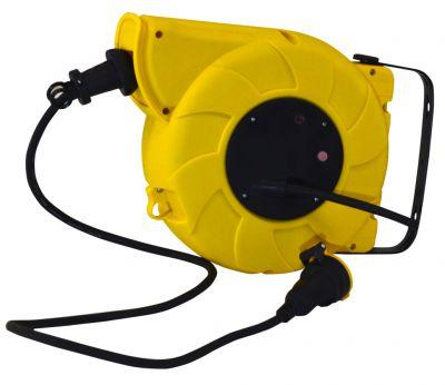 Enrouleur prolongateur câble H07RN-F 3G1,5 - avec disjoncteur thermique à rappel automatique - utilisation en atelier