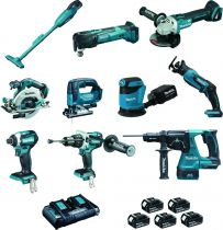 Kit de 10 outils en 18 V - 5 Ah + coupe bordure