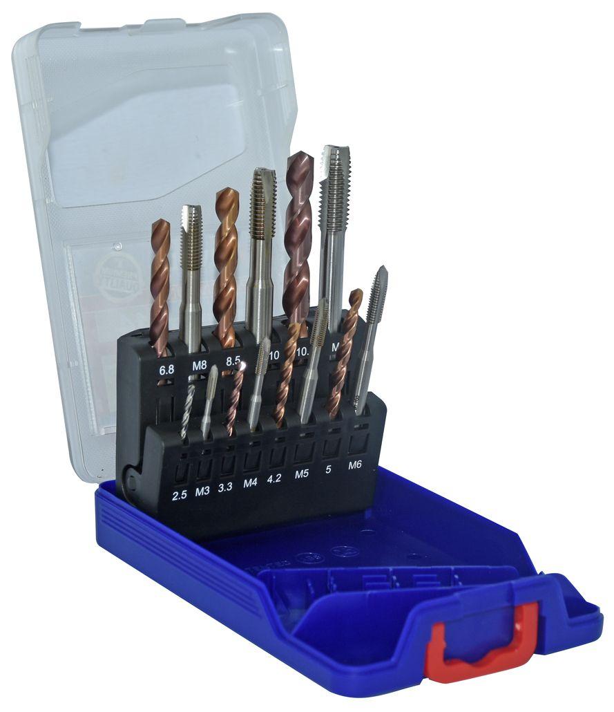 Coffret 7 tarauds HSS GUN DIN 371/376 M3 à M12 + 7 forets TZX HSS FLAM SGX