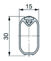 Tube ovale alu avec insert caoutchouc