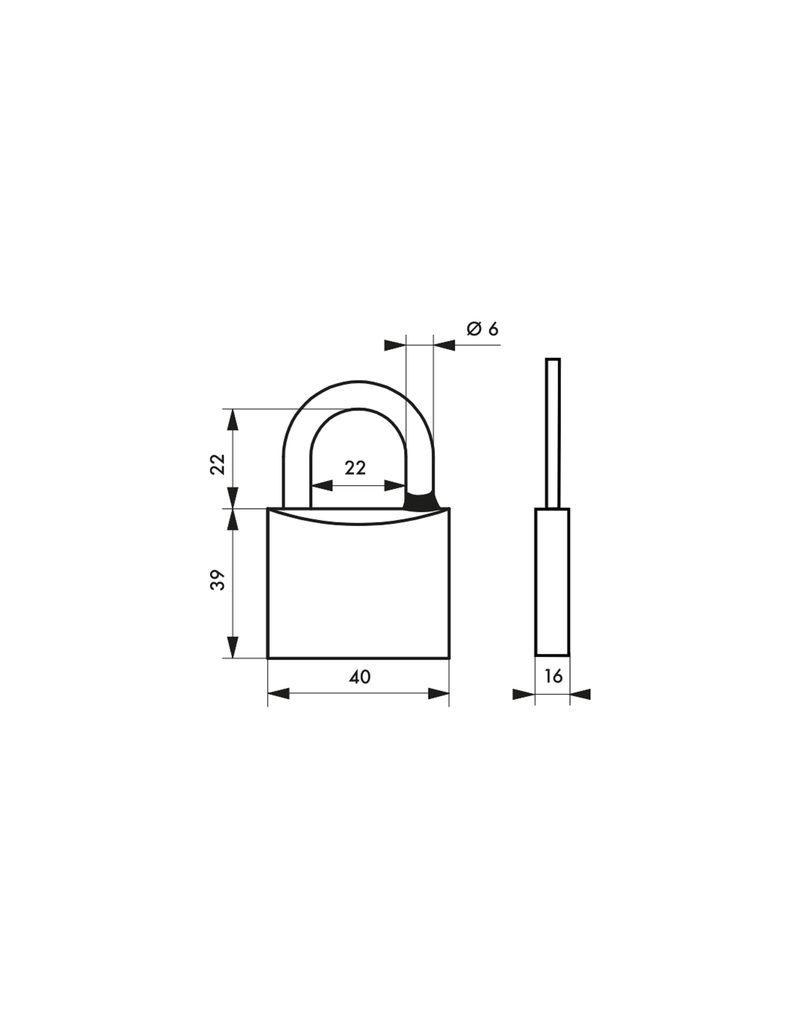 Cadenas à clés laiton de sûreté - Anse acier inoxydable cémenté - avec 2 clés - varié