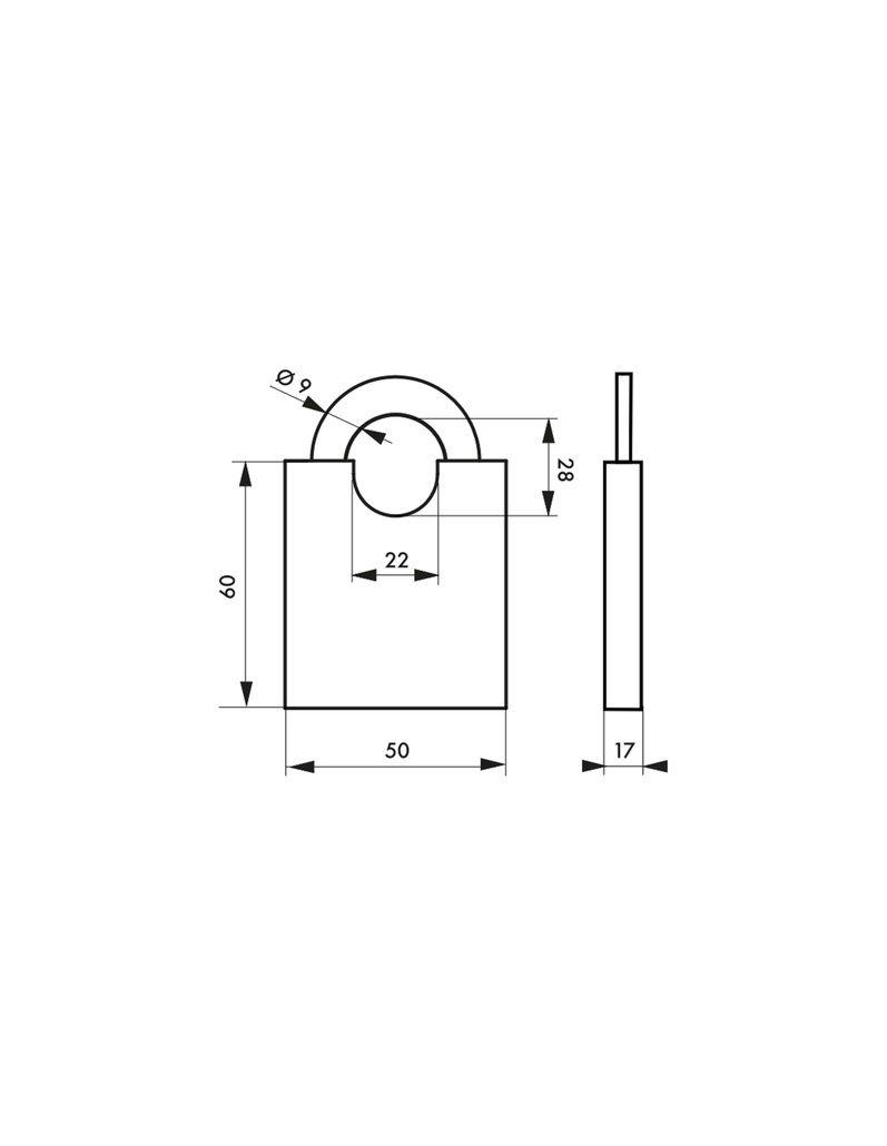 Cadenas à clés laiton massif - série 50P - Anse protégée acier cémenté nickelé - avec 2 clés - varié