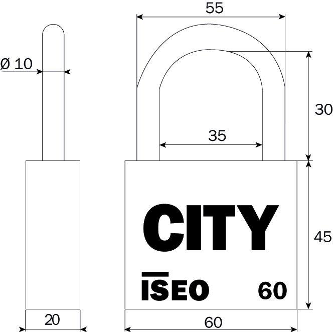 Cadenas à clés laiton massif - série City - Anse acier nickelé cémenté - avec 2 clés - sur N° 160900