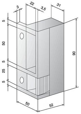 Pour serrure horizontale - double empennage